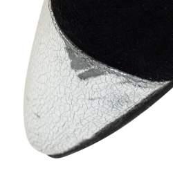 صندل شانيل سويدي أسود/فضي وجلد سي سي مقدمة منفصلة كعب مربع سميك بحزام للكاحل مقاس 38