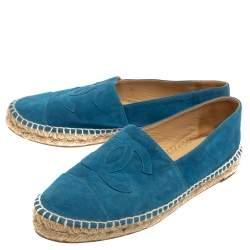 Chanel Blue Suede CC Cap Toe Espadrilles Flats Size 40