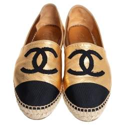 Chanel Gold/Black Fabric And Leather Flat Espadrilles Size 38