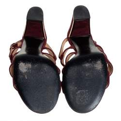 Chanel Burgundy Suede Strappy Sandals Size 39.5