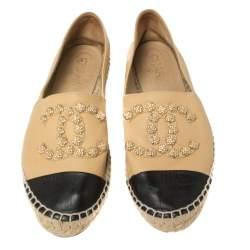 Chanel Beige Leather Camellia Studded Espadrilles Size 39