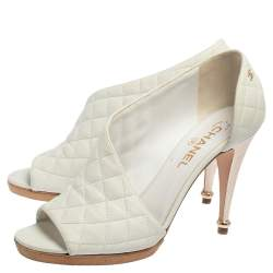 Chanel White Quilted Leather CC Peep Toe Ankle Booties Size 40.5