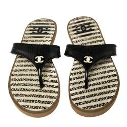 Chanel Black Jelly CC Thong Sandals Size 38