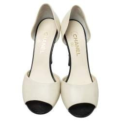 Chanel Cream Leather CC Pearl Embellished Heel D'orsay Peep Toe Pumps Size 40.5