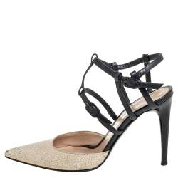 Chanel Cream/Black Leather Ankle Strap Sandals Size 36.5