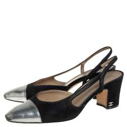 Chanel Black Suede And Leather CC Cap Toe Slingback Sandals Size 38
