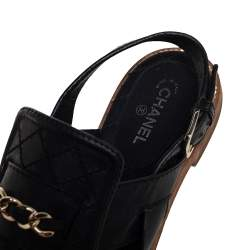 Chanel Black Quilted Chain Link Slingback Flats Size 37.5