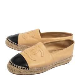 Chanel Beige/Black Leather CC Cap Toe Espadrille Flats Size 35