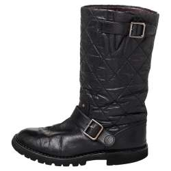 حذاء بوت منتصف ساق شانيل جلد وقماش مقوى مبطن أسود مقاس 38