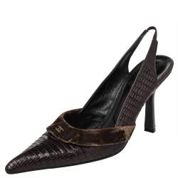 Chanel Vintage Lizard Embossed Leather And Velvet CC Slingback Sandals Size 41