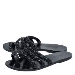 Chanel Black Leather Chain Toe Ring Slide Flats Size 38.5