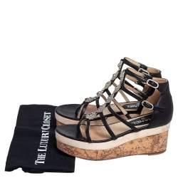 Chanel Black Leather Camellia Strappy Cork Platform Sandals Size 38