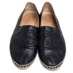 Chanel Black Leather CC Cap Toe Espadrille Flats Size 41