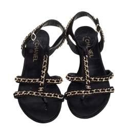 Chanel Black Suede Interlocking Chain Embellished Flats Size 39.5