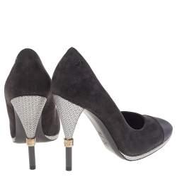 Chanel Black Suede And Satin Cap Toe CC Pumps Size 39