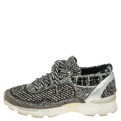Chanel White/Black Tweed and  Leather Lace Up Sneakers Size 36.5