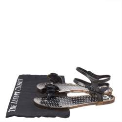 Chanel Black Camellia CC Jelly Flat Sandals Size 37