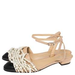 Chanel Black/Beige Leather Pearl Embellished CC Cap Toe Ankle Strap Flats Size 39