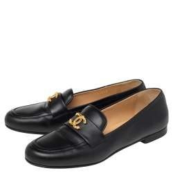 Chanel Black Leather CC Logo  Slip On Loafers Size 38