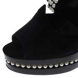 Chanel Black Suede Leather Moscow Collection Pearl Trim Platform Pumps Size 38.5