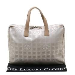 Chanel Beige Jacquard Travel Ligne Laptop Bag