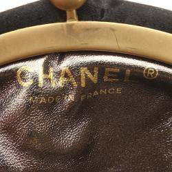 Chanel Black Embellished Velour Pouch