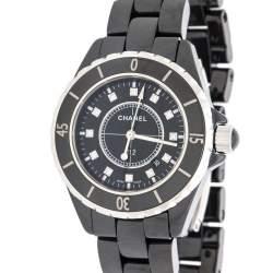 Chanel Black Ceramic Stainless Steel Diamond J12 Women's Wristwatch 33 mm