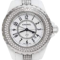 Chanel White Ceramic Diamond J12 Women's Wristwatch 34 mm