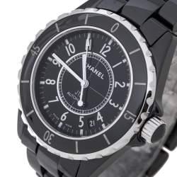 Chanel Black Ceramic Stainless Steel J12 Women's Wristwatch 39 mm