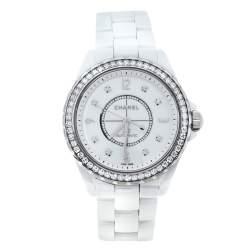 Chanel White Ceramic Stainless Steel Diamond J12 Women's Wristwatch 39 mm