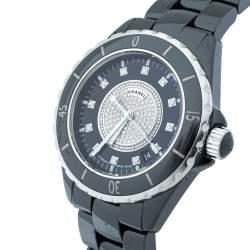 Chanel Black Ceramic Stainless Steel Diamond Ceramic J12 H1757 Unisex Wristwatch 38 mm