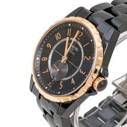 Chanel Black Gold Tone Black Ceramic Stainless Steel J12 H3838 Women's Wristwatch 36 mm