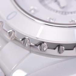 Chanel White Ceramic And Stainless Steel Diamonds J12 H1628 Quartz Women's Wristwatch 33 MM