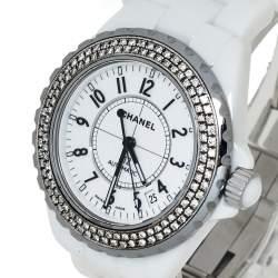 Chanel White Stainless Steel & Ceramic Diamonds J12 Women's Wristwatch 39 mm
