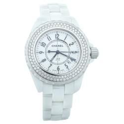 Chanel White Ceramic & Stainless Steel Diamonds J12 Women's Wristwatch 33 mm