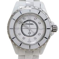 ساعة يد نسائية شانيل جي12 ألماس سيراميك وستانلس ستيل صدف 34 مم