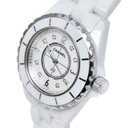 Chanel Mother Of Pearl Stainless Steel & Ceramic Diamonds J12 Women's Wristwatch 34 mm