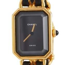 ساعة يد نسائية شانيل بريميير H0001 ستانلس ستيل مطلية ذهبي سوداء 20 مم