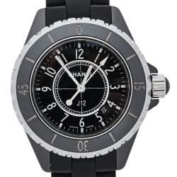 Chanel Black Ceramic & Rubber J12 H0681 Unisex Wristwatch 33 mm