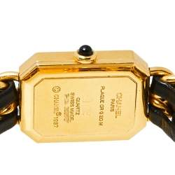 Chanel Black Gold Plated Stainless Steel & Leather Premiere H0001 Women's Wristwatch 20 mm