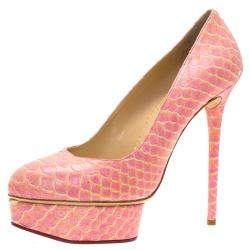 Charlotte Olympia Pink Python Priscilla Platform Pumps Size 40