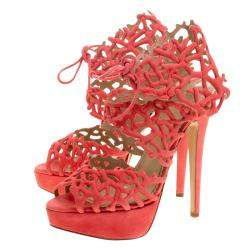 Charlotte Olympia Coral Laser Cut Suede Goodness Gracious Reef Platform Sandals Size 39