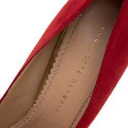 Charlotte Olympia Red Suede Dotty Platform Pumps Size 40.5