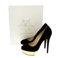 Charlotte Olympia Black Suede Dolly Platform Pumps Size 41