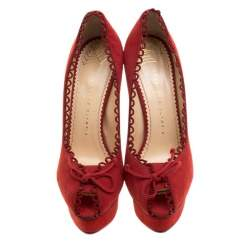 Charlotte Olympia Red Suede Daphne Scalloped Trim Peep Toe Platform Pumps Size 39.5