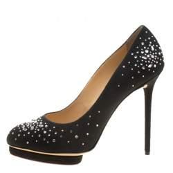 Charlotte Olympia Black Crystal Embellished Linen Bejeweled Dotty Platform Pumps Size 41