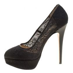 Charlotte Olympia Black Lace Gothic Immodesty Platform Pumps Size 41