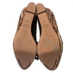 Charlotte Olympia Two Tone Pony Hair Wedges Platform Oxfords Size 40