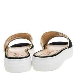 Charlotte Olympia Black Velvet Kitty Slide Platform Sandals Size 40