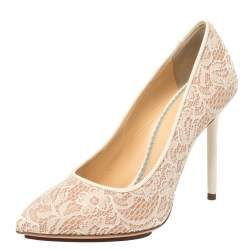 Charlotte Olympia Beige Lace and Mesh Monroe Pointed Toe Pumps Size 37